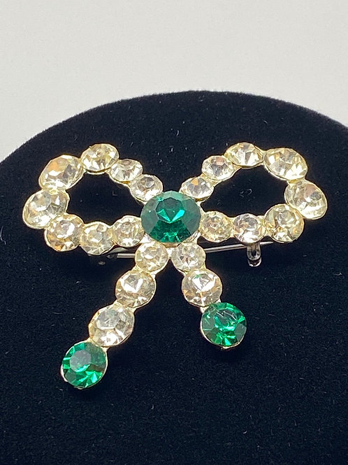 Vintage Green and Clear Rhinestone Bow