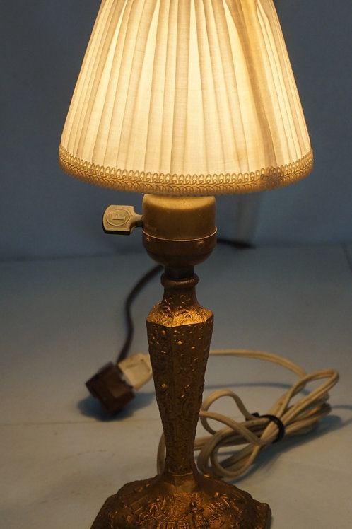 1920s Table Lamp With Clip-on Cloth Shade