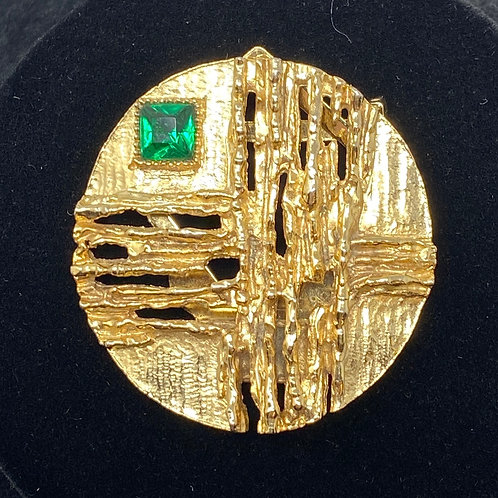 Vintage Gold Tone with Green Stone Scarf Tie Brooch Signed Art
