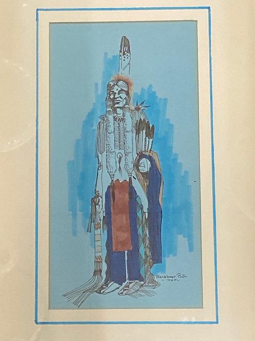 Blackbear Bosin Signed Sketch/Watercolor 1967