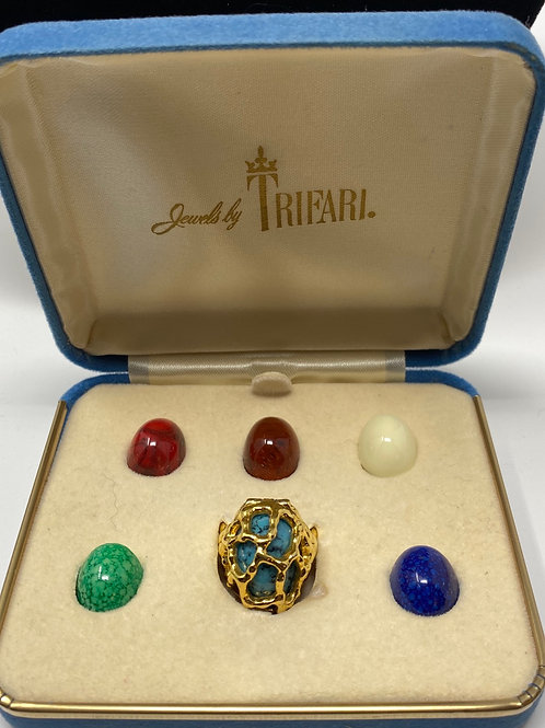 Vintage Trifari Guilded Cage Ring Set with Changeable Faux Gem Stones