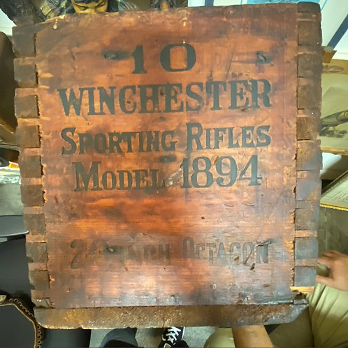 Vintage Winchester Sporting Rifles Model 1894 Gun Crate with Original Tag