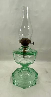 Green Glass Kerosene Lamp