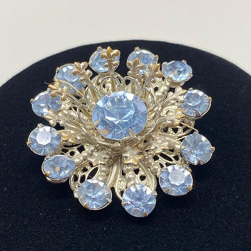 Vintage Sparkle Blue Rhinestone Double Layer Brooch