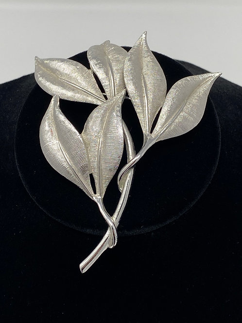 Emmons Textured Silver Tone Leaf Brooch