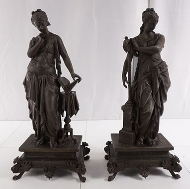 1900s Pair Of Victorian Spelter Statues
