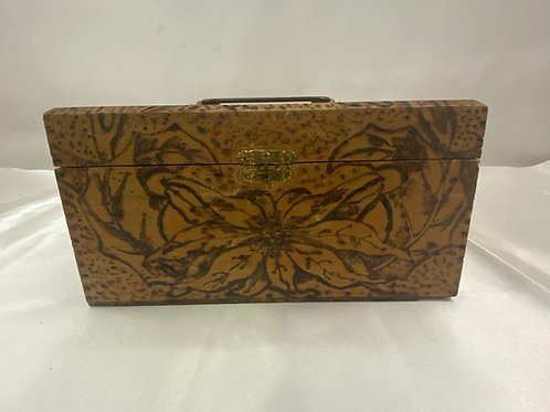 1910 Wooden Flemish Box with Wood Burned Design