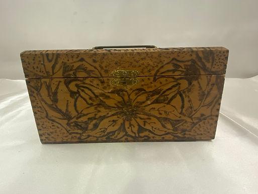 1910 Wooden Flemish Box with Wood Burned Design