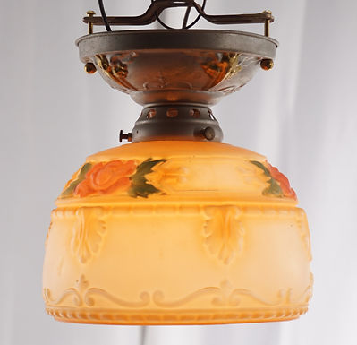 1920s Flush Mounted Light Fixture With Hand Painted Floral S