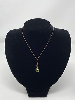 Art Nouveau Peridot and Seed Pearl Lavaliere Pendant