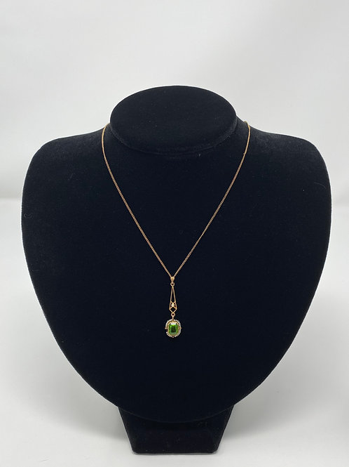 Art Nouveau Peridot and Seed Pearl Lavaliere Pendant