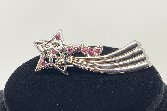 Silver Tone Shooting Star Pin with Pink Rhinestone