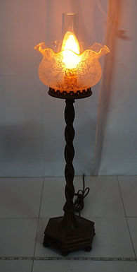 Electric Converted Gas Table Lamp With Beautiful Etched Glas