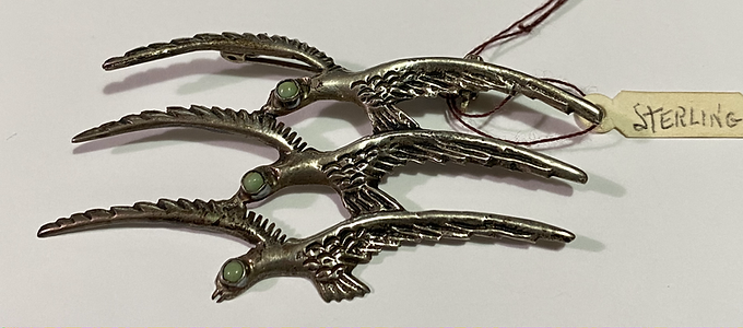 Bird Brooch Mexican Silver and Jade Colored Eye