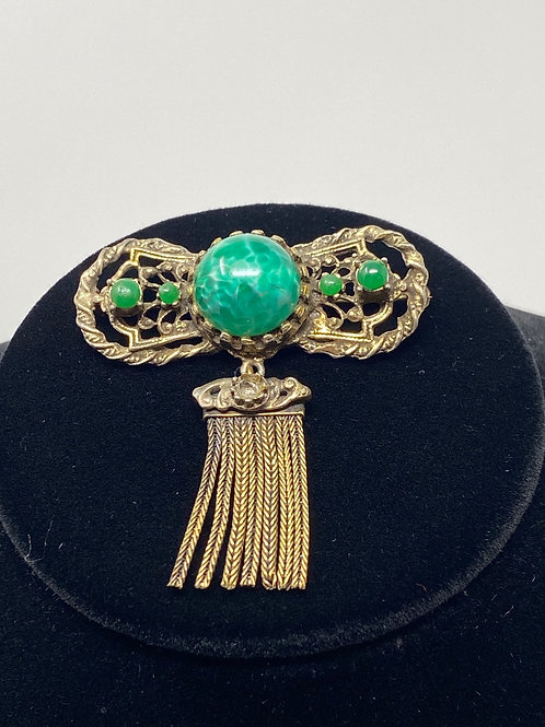 Vintage Brooch with Green Stones and Gold Tone Fringe