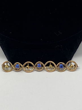 Blue Rhinestone and Gold Dainty Bar Pin