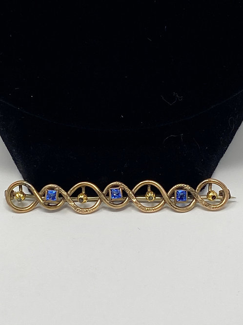 Blue Rhinestone and Gold Dainty Bar Pin