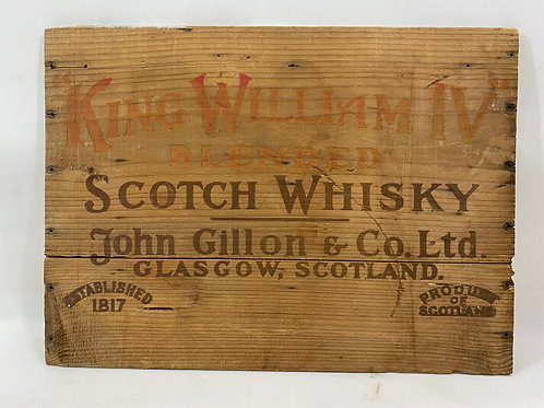 Wooden Box End Sign King William IV Scotch Whisky