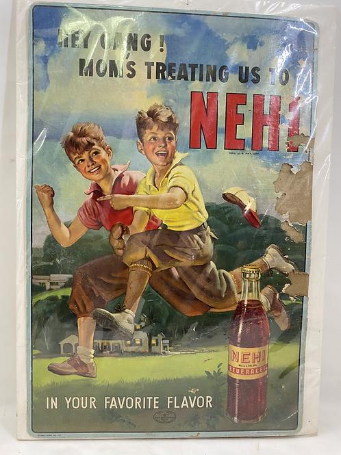 Rare Vintage Nehi Baseball Player Cardboard Sign