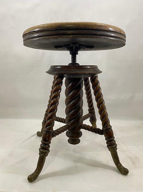 Antique Golden Oak Adjustable Piano Stool by The C Parker Co