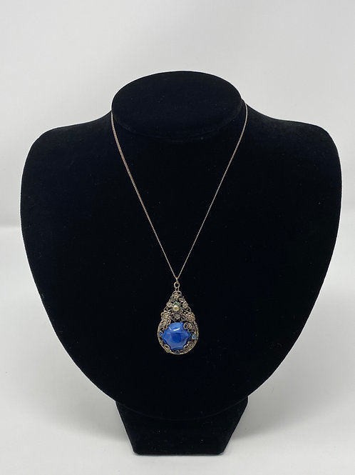 Vintage Blue Stone Pendant with Faux Pearl