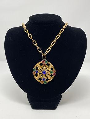 Multi Colored Medallion Pendant Necklace