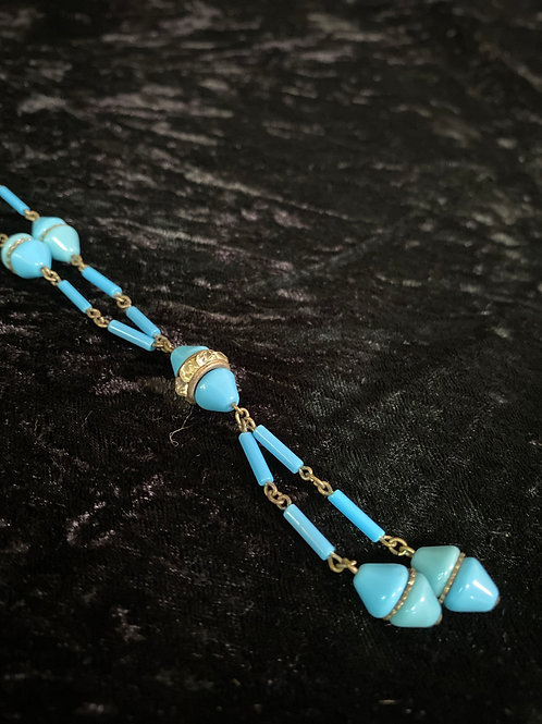 Art Deco Necklace with Blue Milkglass Beads and Channel Set Rhinestones