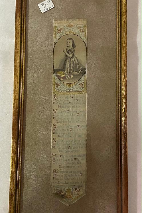 19th Century Prayer Ribbon Framed