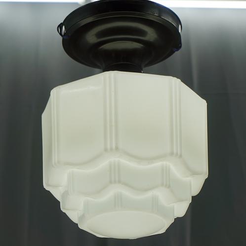 Art Deco Flush Mount Single Light Fixture Ca 1940s