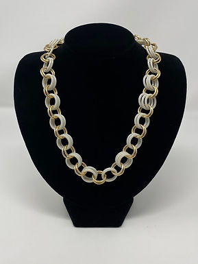 1960-70s Plastic and Brass Hoops Necklace