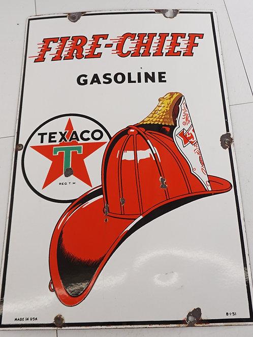 1950s Texaco Fire Chief Gasoline Porcelain Sign