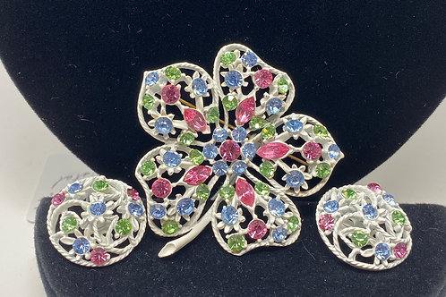 Multicolored Rhinestone with Silver Tone Brooch and Earrings Set