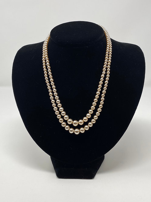 Vintage Japan Double Strand Faux Pearls Necklace