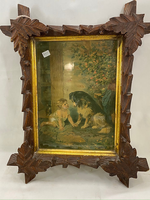 Victorian Criss Cross Framed Art of a Child with Dog