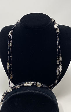 Black and Clear Crystal Flapper Length Necklace
