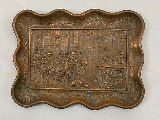 Copper Tray with Renaissance Tavern Scene