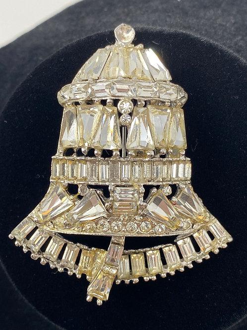 Vintage Rhinestone Bell Brooch