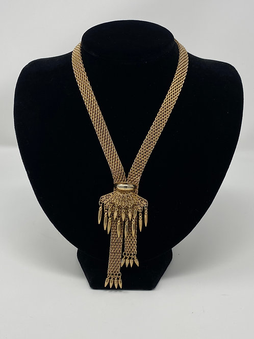 Chic Ornate Fringe Point Gold Tone Bead