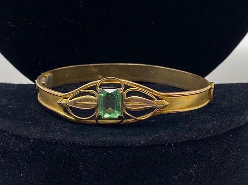 Vintage Pinch Clasp Bracelet with Green Topaz Gem