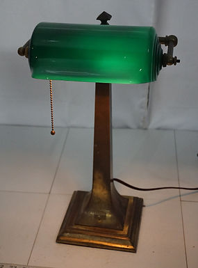 1920s Bankers Lamp With Green Cased Shade - Fidelity & Trust