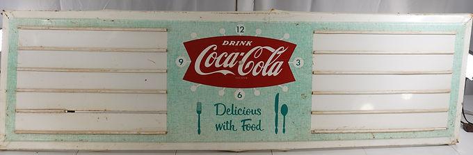 1940s-50s Coca Cola Fishtail Clock Face Sign