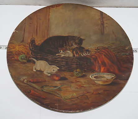 1884 Leather Board - Cats Motif