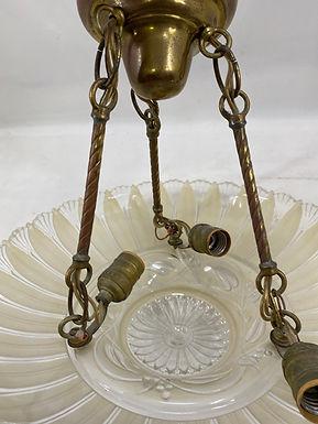 Brass Light Fixture with Glass Shade