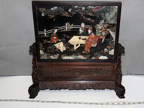 Hand Carved Chinese Soapstone Art - With Wooden Stand Or Table Screen
