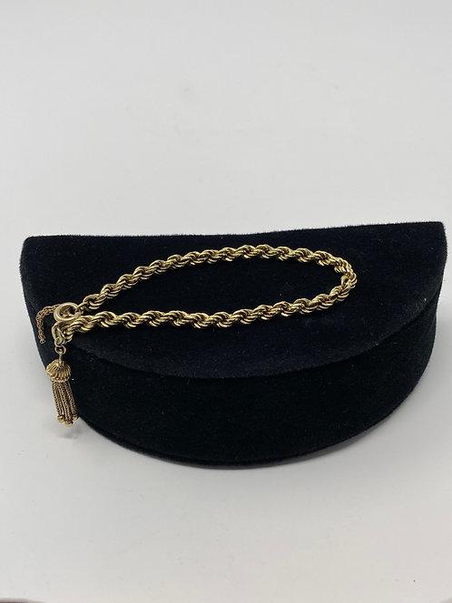 Vintage Rope Bracelet 585 Marked Chain with Tassel