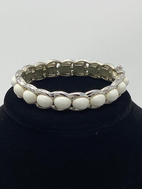 Vintage Trifari White Beaded Bracelet with Safety Catch