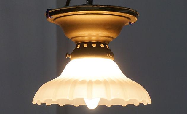 1940s Flush Mount Single Light Fixture