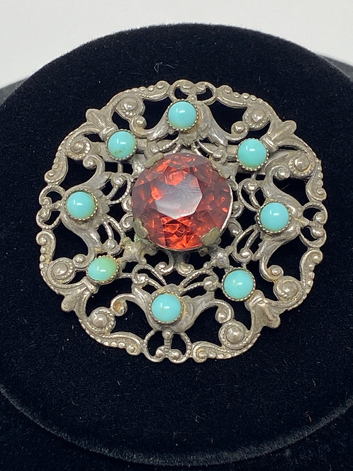 Vintage Ornately Designed Brooch with Blue and Purple Stones