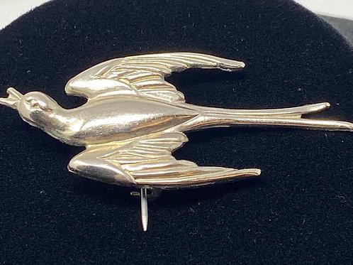 Silver Tone Swallow Pin