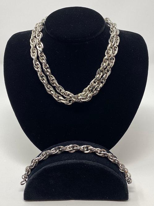 Parklane Large Silver Tone Necklace and Bracelet Set